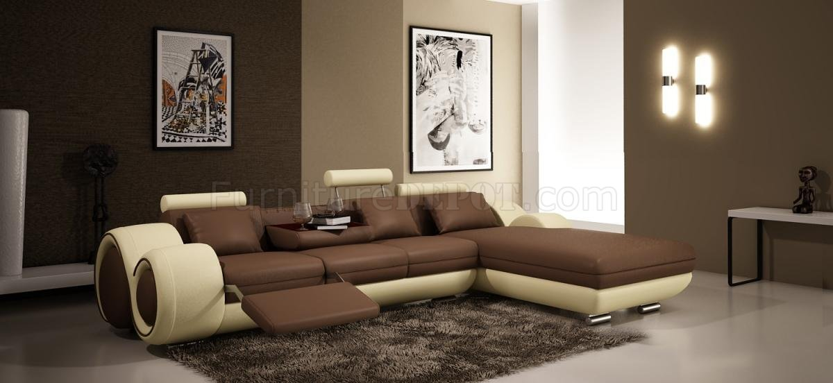 4085 Sectional Sofa By Vig In Brown Amp Tan Bonded Leather