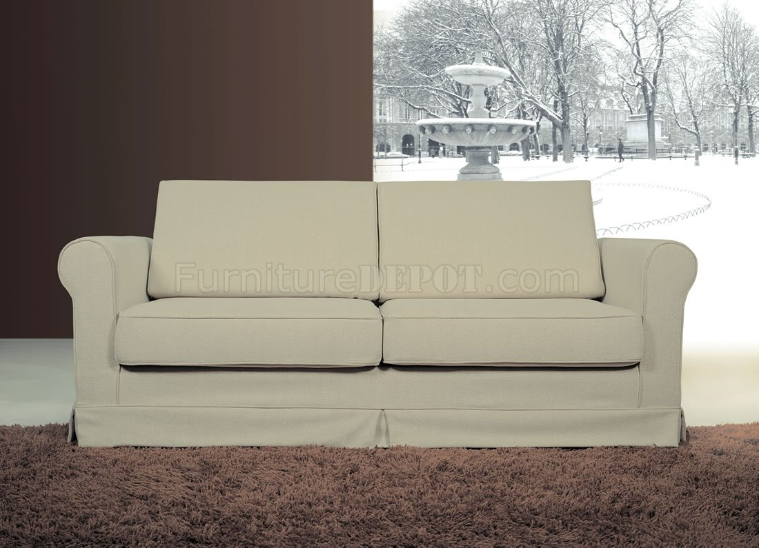 Contemporary beige fabric sofa with pull out bed Loveseat with pullout bed