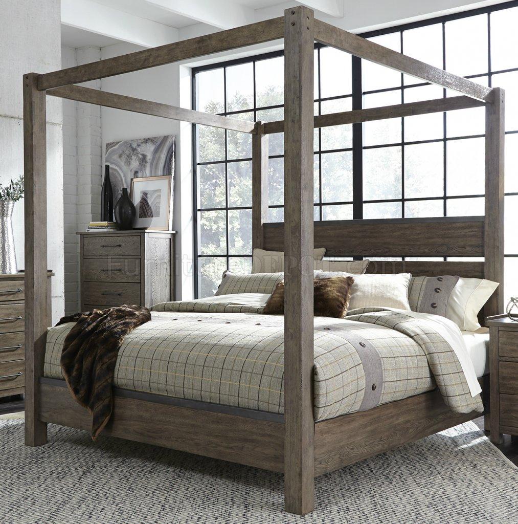 Bedroom Sets With Canopy Bedroom Wallpaper Textures Master Bedroom Chandeliers Black Bedroom Accessories: Sonoma Road Bedroom 473-BR-QCB 5Pc Weather Beaten Bark Liberty