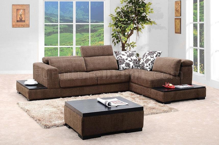 Brown Fabric Modern Sectional Sofa W Matching Coffee Table VGSS MB0805
