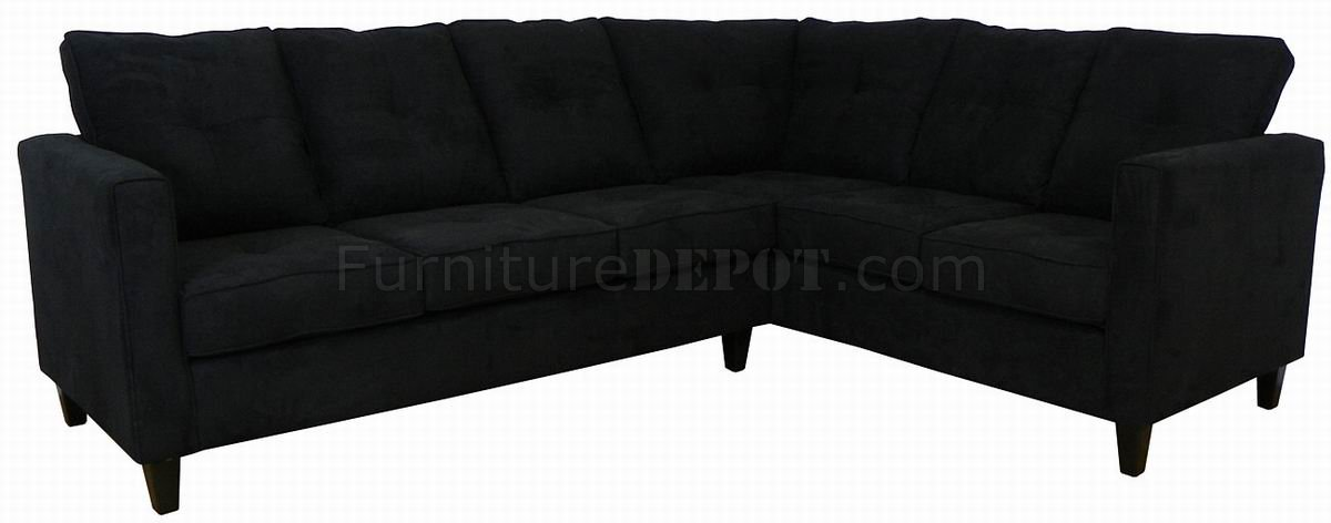 Black Fabric Contemporary Sectional Sofa W Wooden Legs