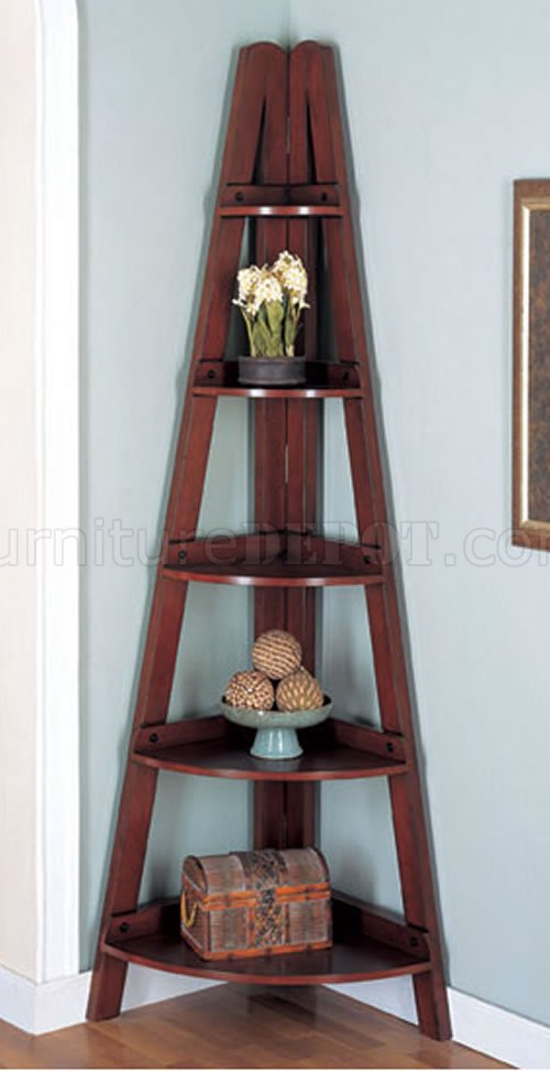 Rubbed black or mahogany finish modern corner shelves for Modern corner bookshelf