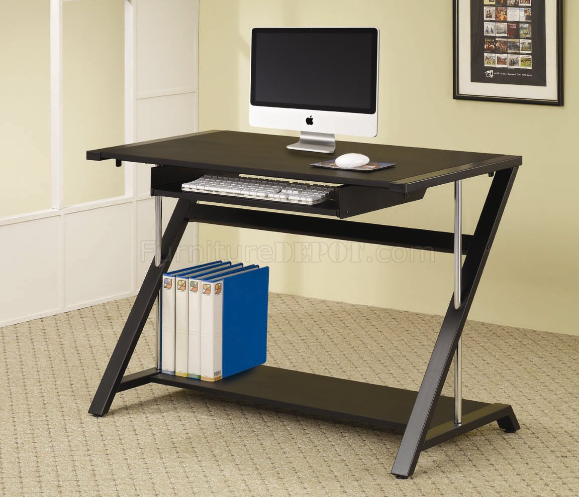 Black Finish Modern Home Office Desk W Chrome Tube Support