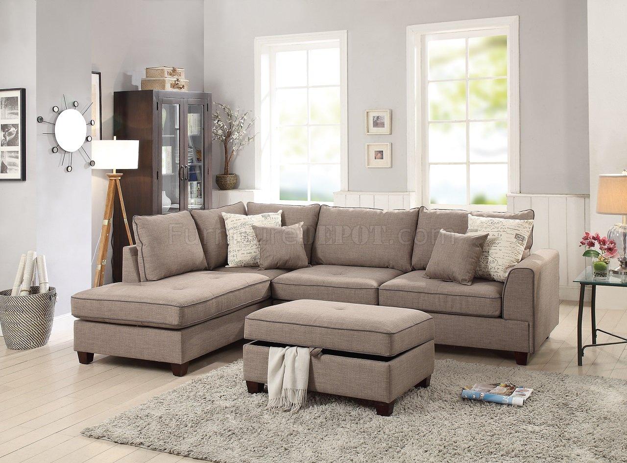 F6544 Sectional Sofa In Mocha Fabric By Boss W Storage