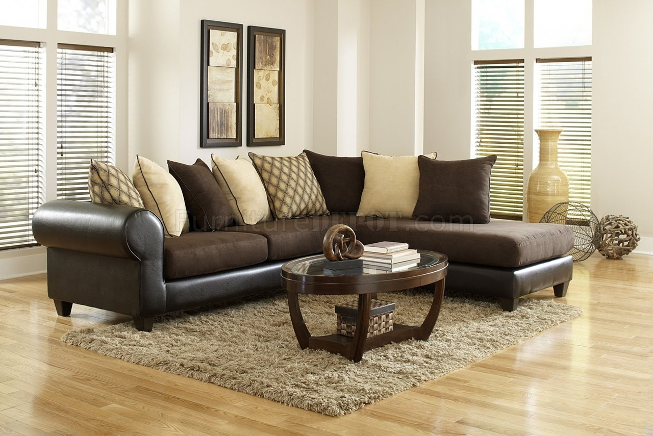 4510 Sectional Sofa In Brown Microfiber Bi Cast