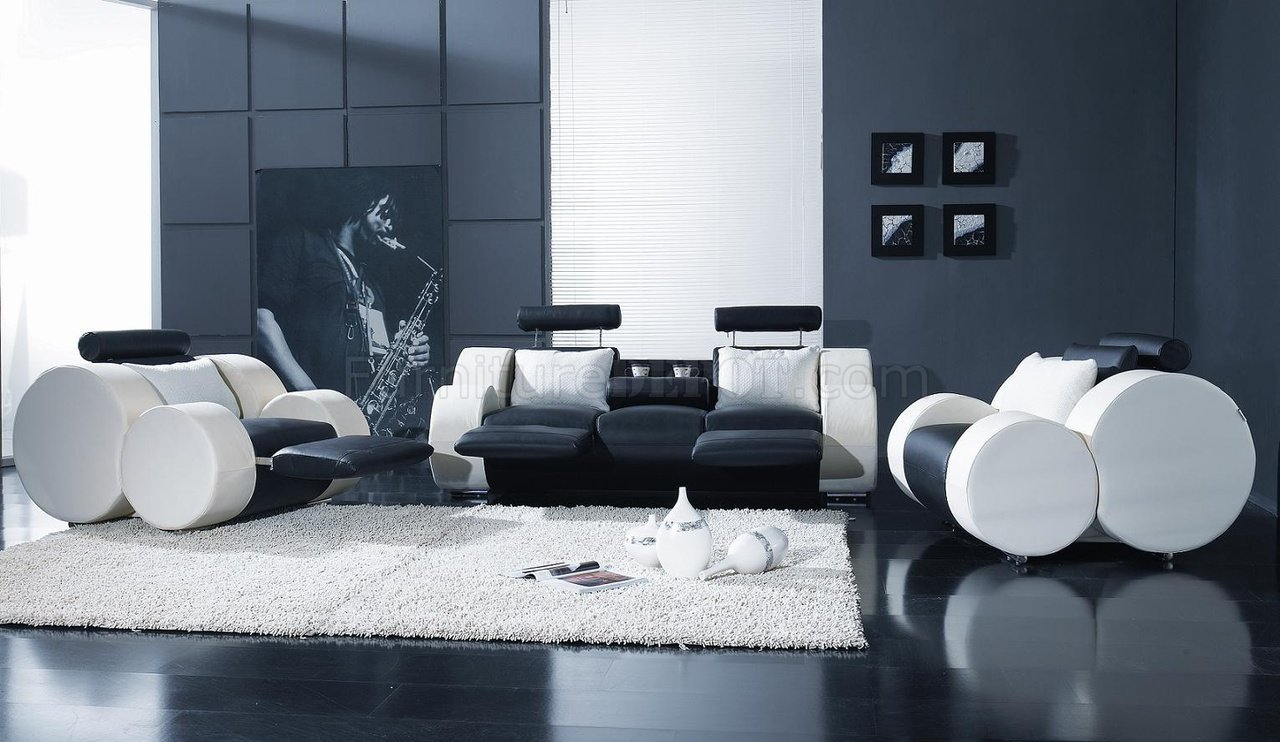 Black White Leather Modern 3pc Living Room Set