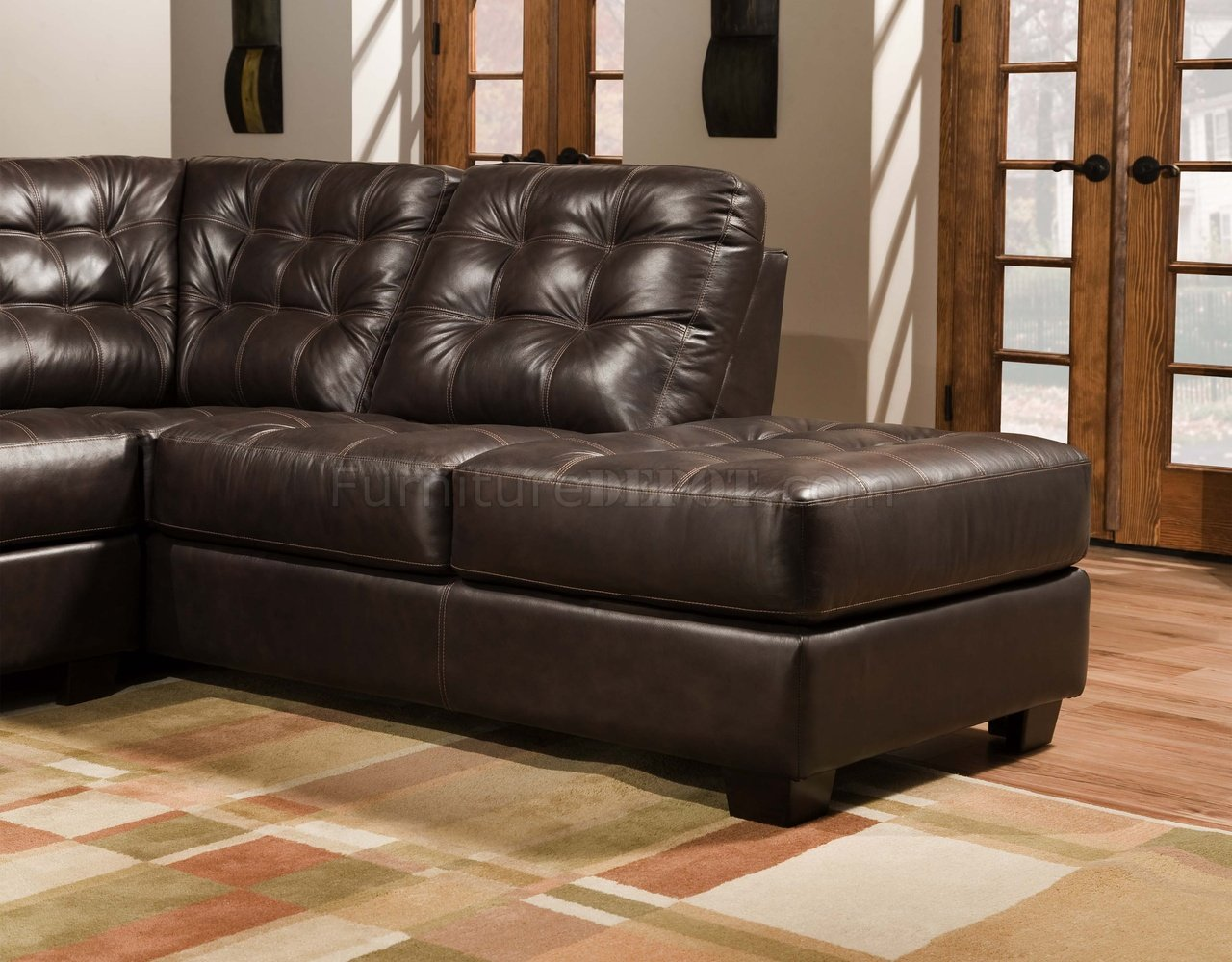 Brown Tufted Top Grain Leather Modern Sectional Sofa