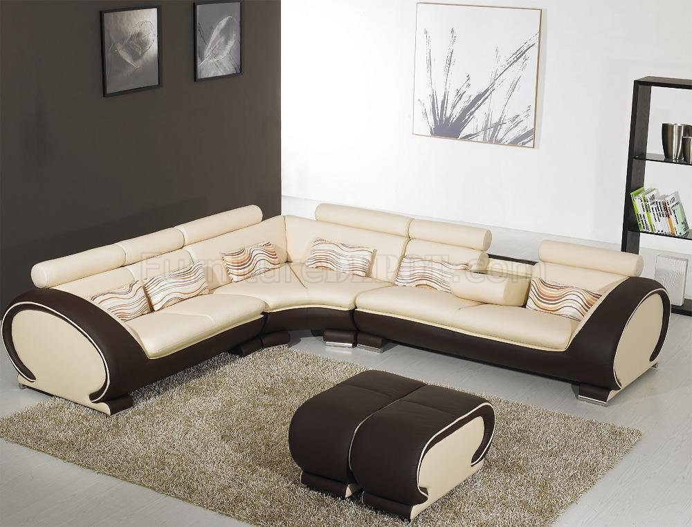 Beige Leather Modern Sectional Sofa Dark Brown Sides YI-816