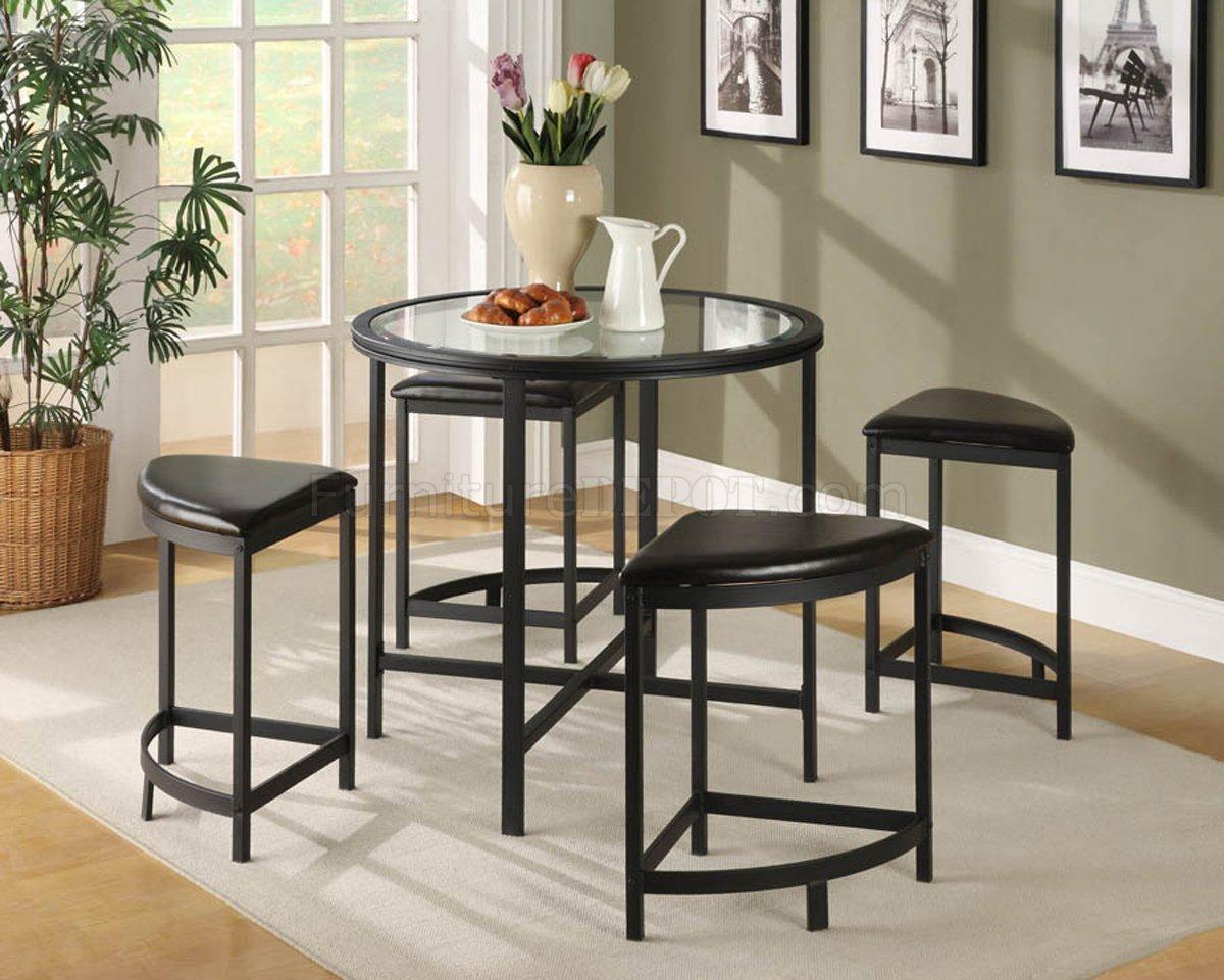 Black Metal Base Modern 5Pc Pub Set W/Glass Table Top