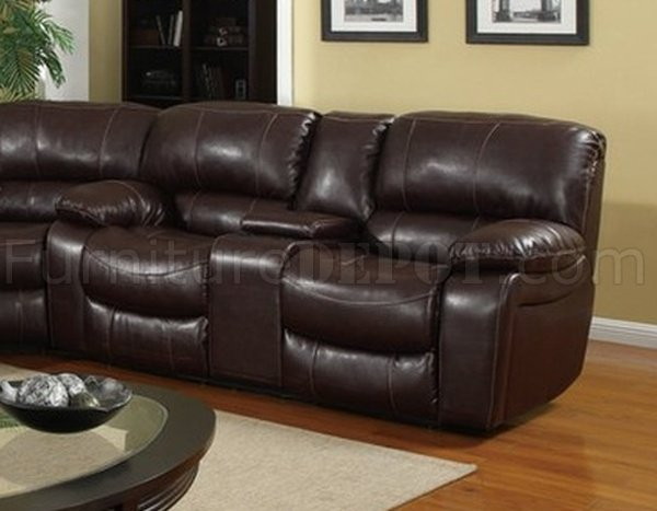 U8122 Sectional Sofa Reclining Burgundy Bonded Leather 3pc