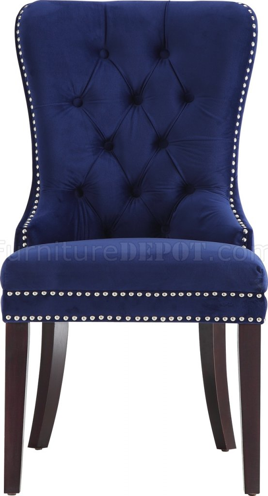 Nikki Dining Chair 740 Set Of 2 Navy Velvet Fabric By Meridian