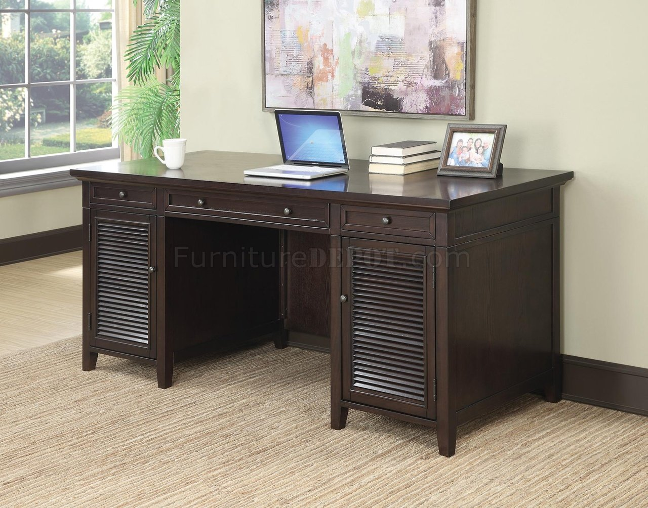 801097 Office Desk In Dark Brown By Coaster W Power Outlet
