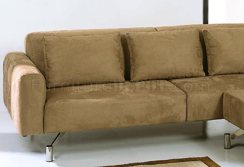 Saddle Brown Microfiber Contemporary Sectional Sofa