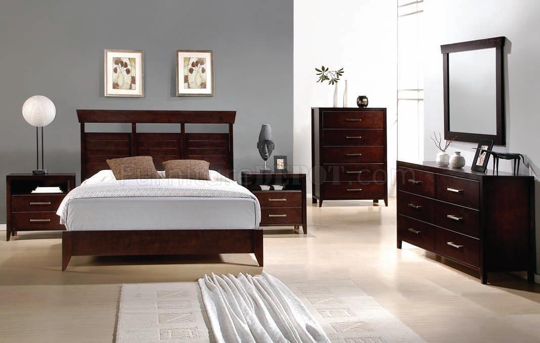 Espresso Finish Modern Bedroom W Optional Items