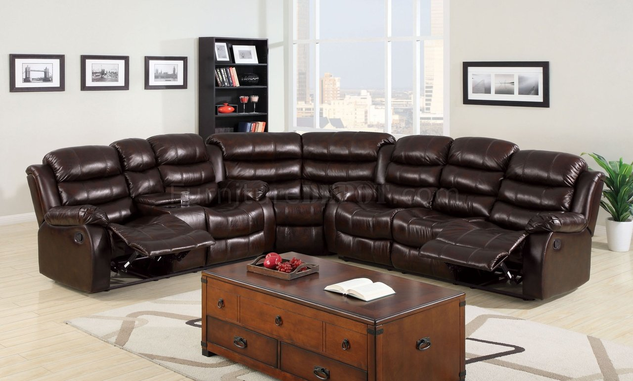 winslow reclining sectional sofa cm6556 in bonded leather match. Black Bedroom Furniture Sets. Home Design Ideas