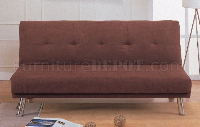 Brown Microfiber Contemporary Convertible Sofa Bed