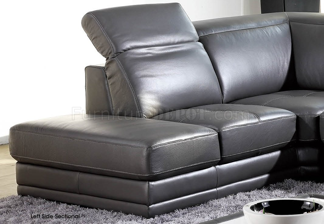 Dark grey full genuine italian leather modern sectional sofa for Genuine italian leather sectional sofa