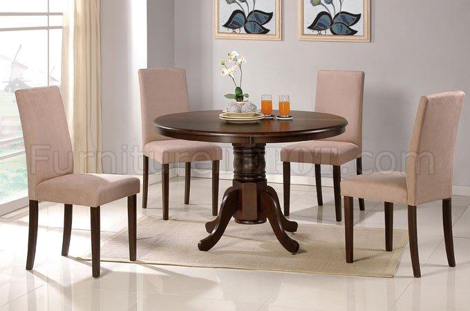 Dark Espresso Finish Round Pedestal Base Table W Optional