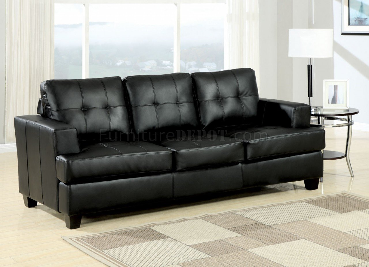 Contemporary Bedroom Set London Black By Acme Furniture: Black Bonded Leather Modern Sofa W/Queen Size Sleeper