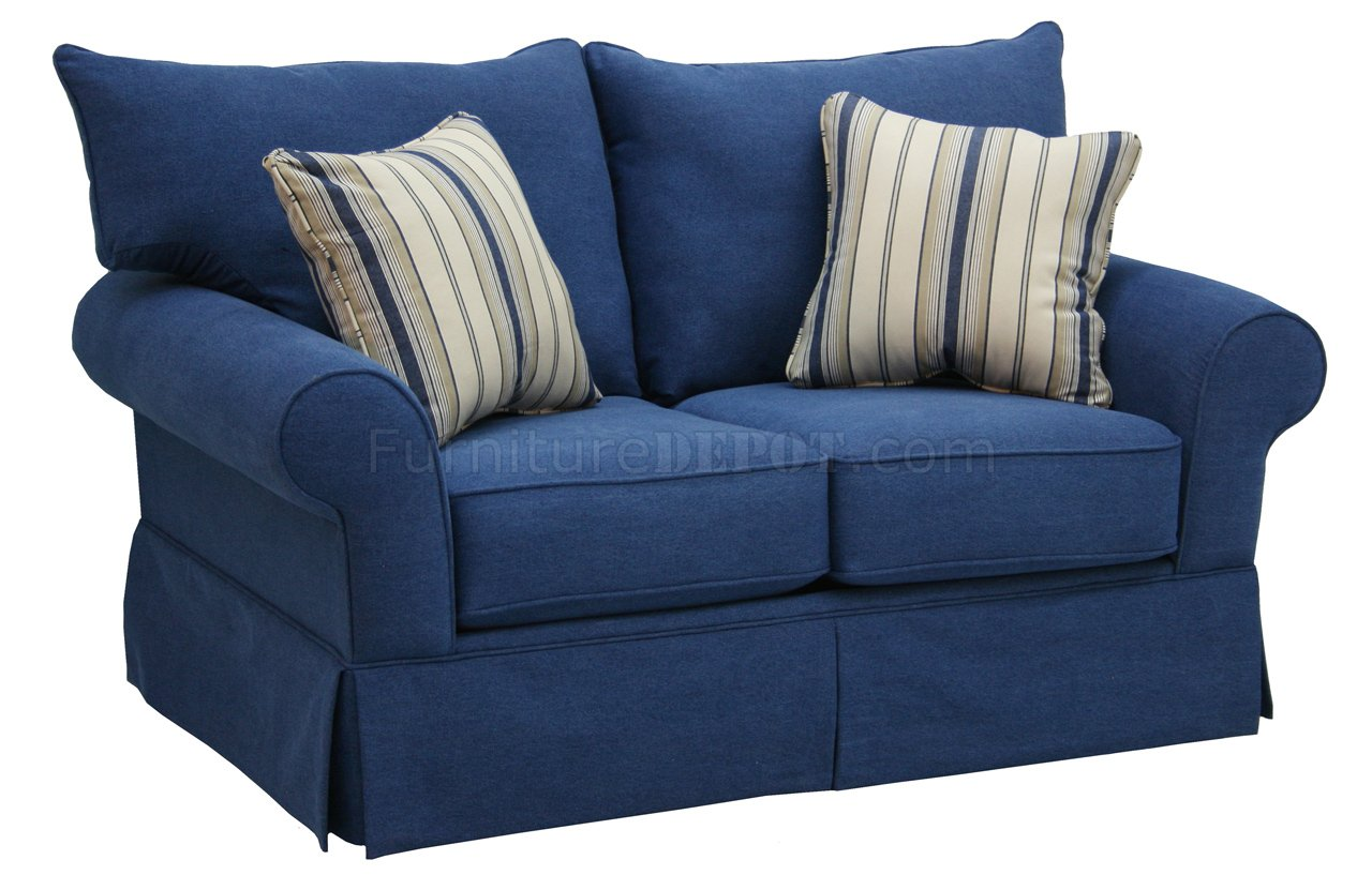 Blue denim fabric modern sofa loveseat set w options Denim couch and loveseat