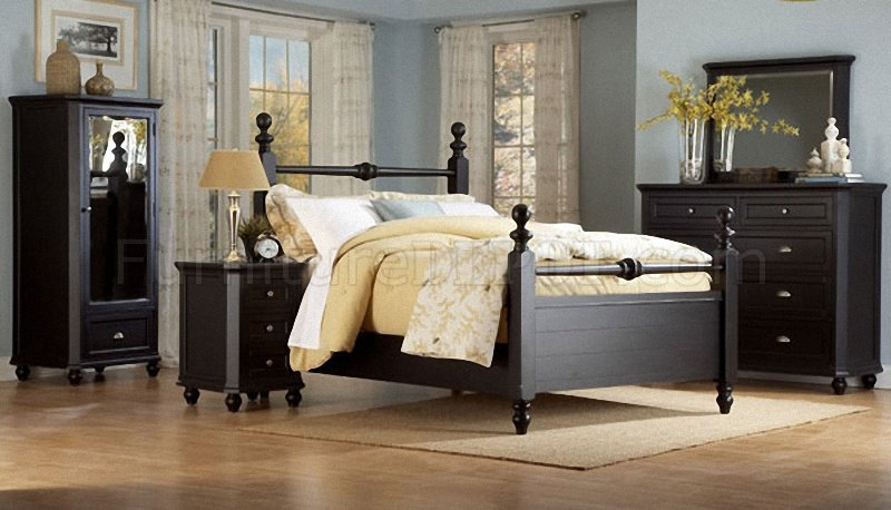 Black Casual Cottage Style Bedroom W Optional Casegoods