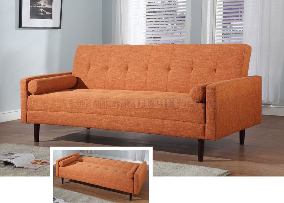 Orange Fabric Contemporary Sofa Bed Convertible