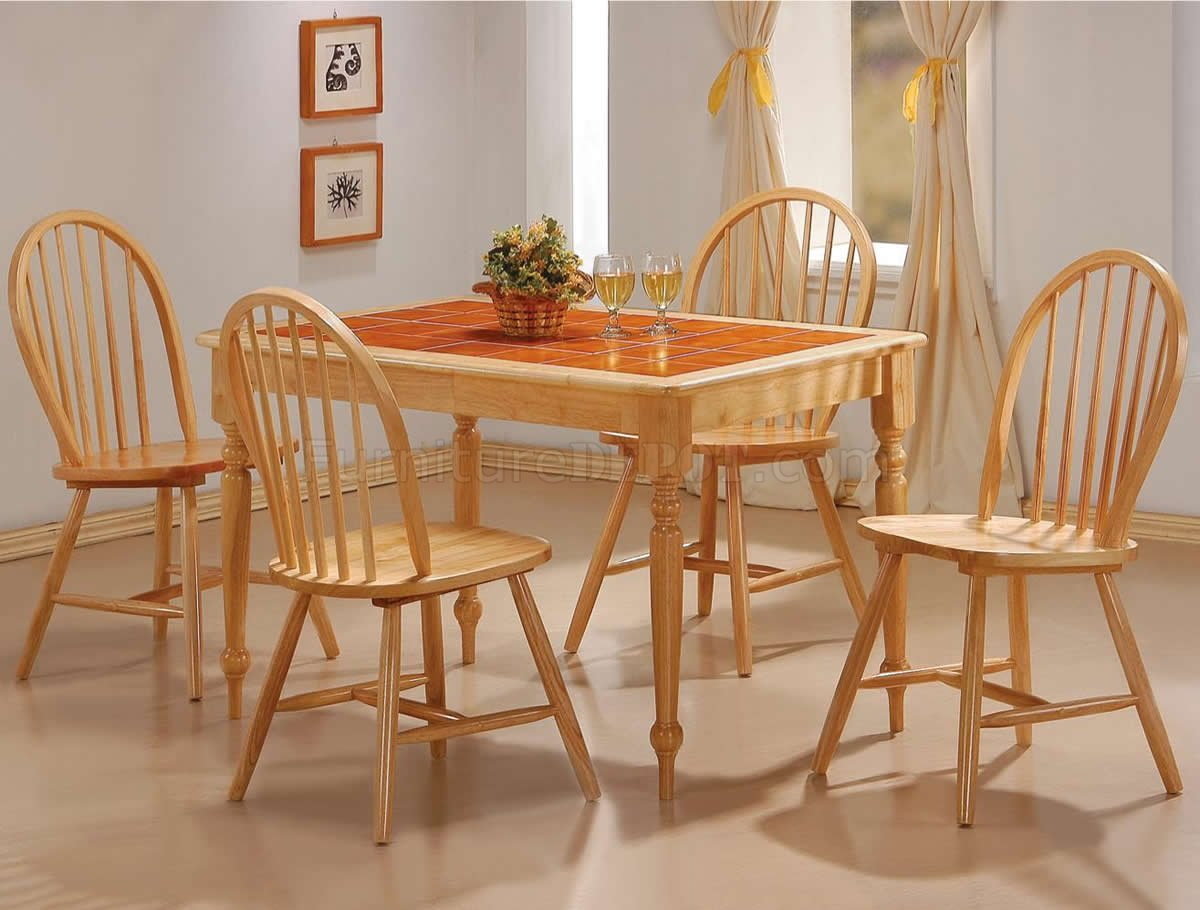 Terracotta tile top natural finish modern 5pc dining set for Kitchen table and chairs set for sale