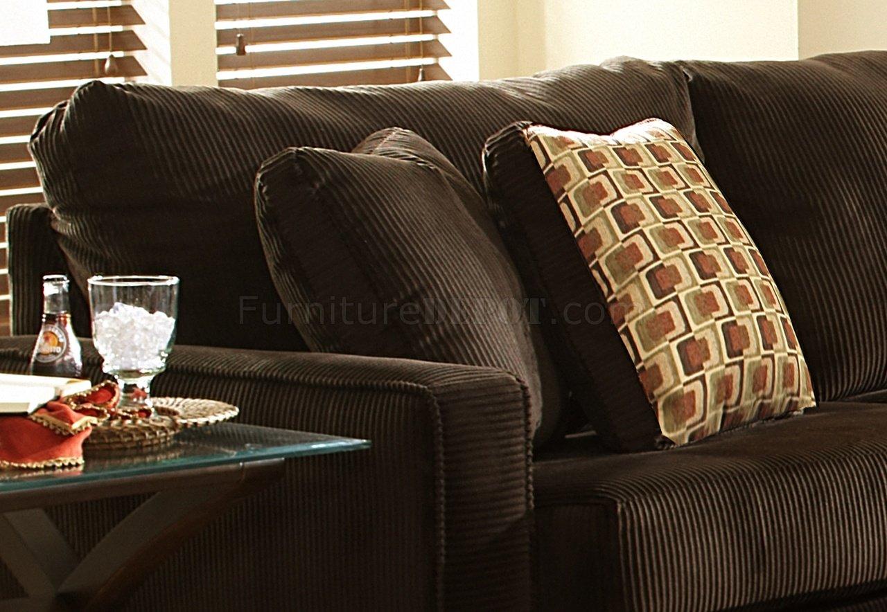 Viva Chocolate Fabric Modern Sectional Sofa W Large Back Pillows