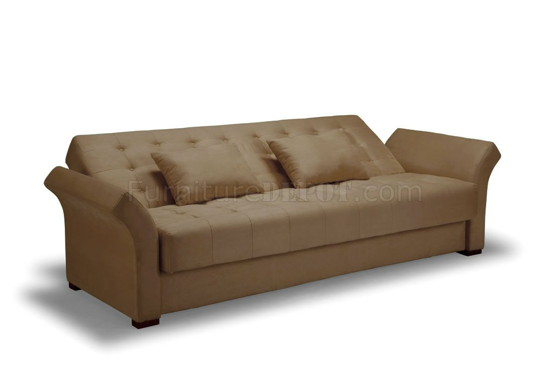 Clack Sofa Bed Convertible in Delux Khaki Microfiber