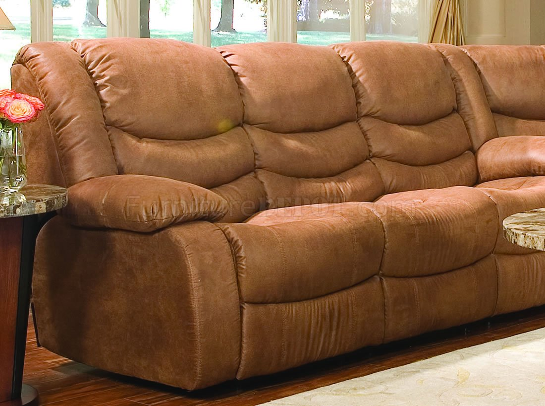 Rust Specially Treated Microfiber Sectional W Recliner Seat