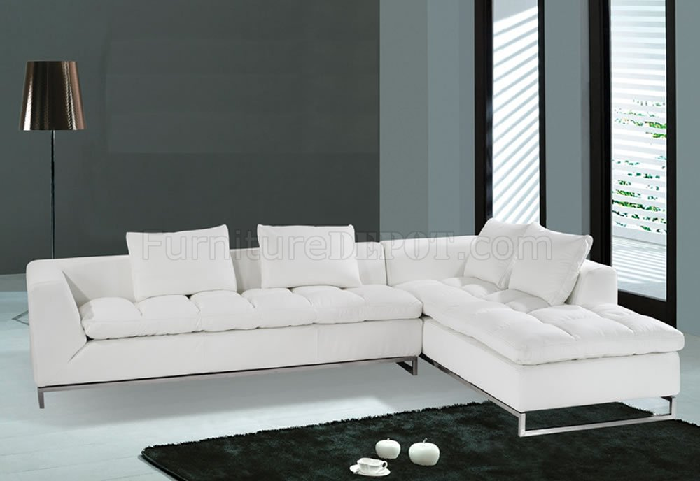 F32 Sectional Sofa. White Leather. Model F-32.