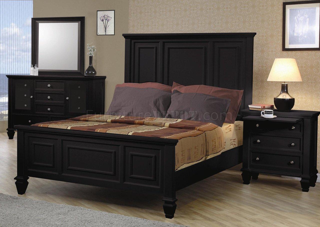 Black Finish Classic 5 Pc Bedroom Set W Oversized