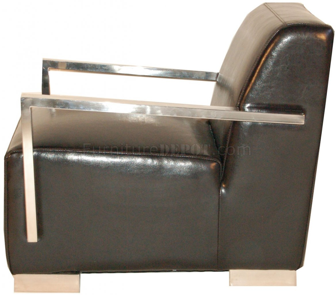 Black Bi Cast Leather Modern Lounge Chair W Metal Arms Amp Legs
