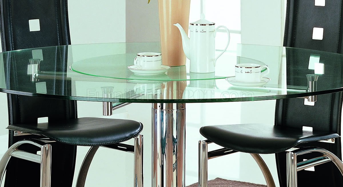 Stainless Steel Modern Dinette W Glass Top Rotating Table