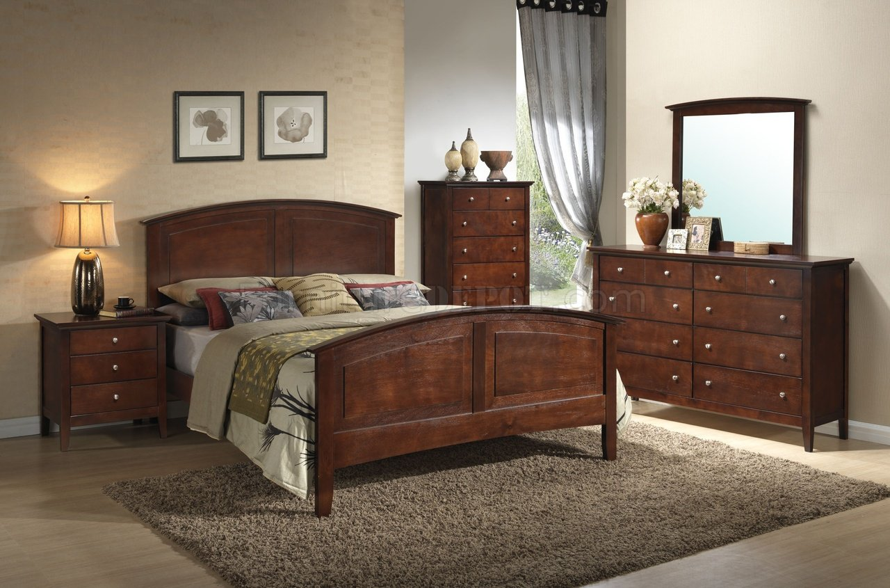 G5400 bedroom in dark oak by glory furniture w options for Oak bedroom sets