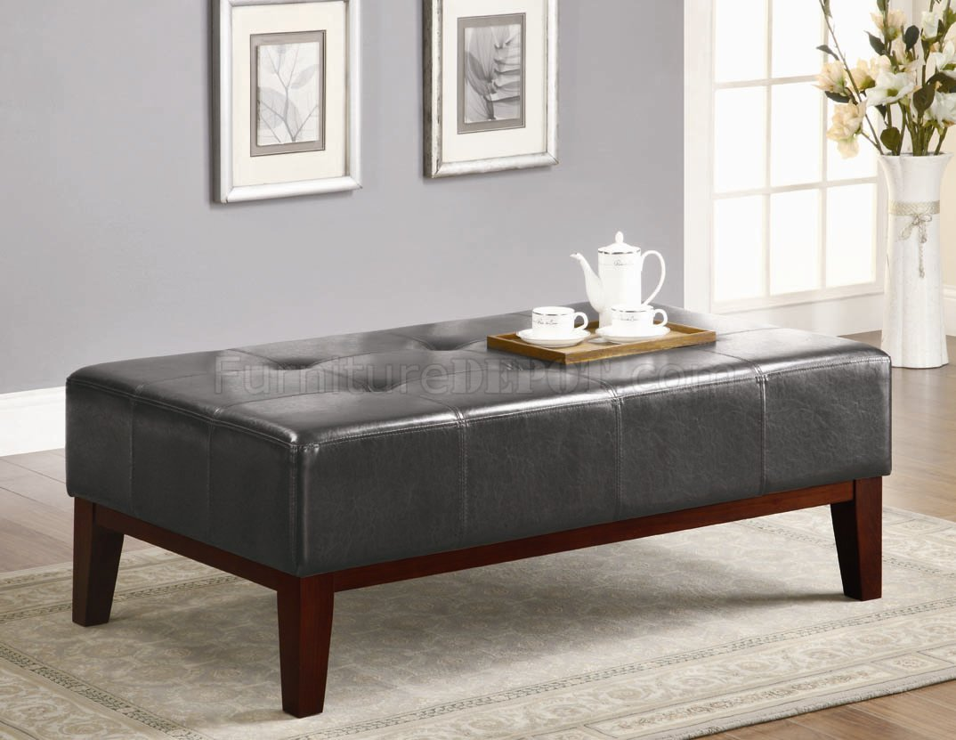Dark Brown Vinyl Modern Tufted Ottoman W/Solid Wood Trim Base. Full resolution  picture, nominally Width 1074 Height 831 pixels, picture with #8F793C.