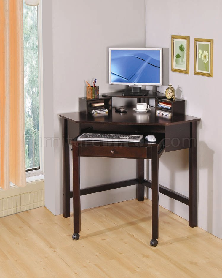 finish modern home office small corner desk w roller crod 800983