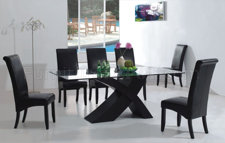 7pc modern dining room set w/black x shape legs & glass top