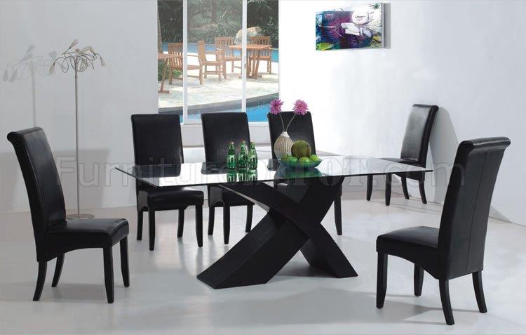 black dining room set 7PC Modern Dining Room Set w/Black X Shape Legs & Glass Top black dining room set