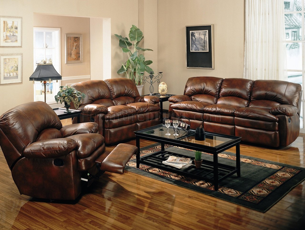 Rich Brown Bonded Leather Modern Reclining Sofa W/Options