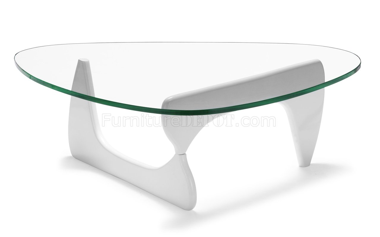 Glass top modern coffee table w white black or natural base - White table with glass top ...