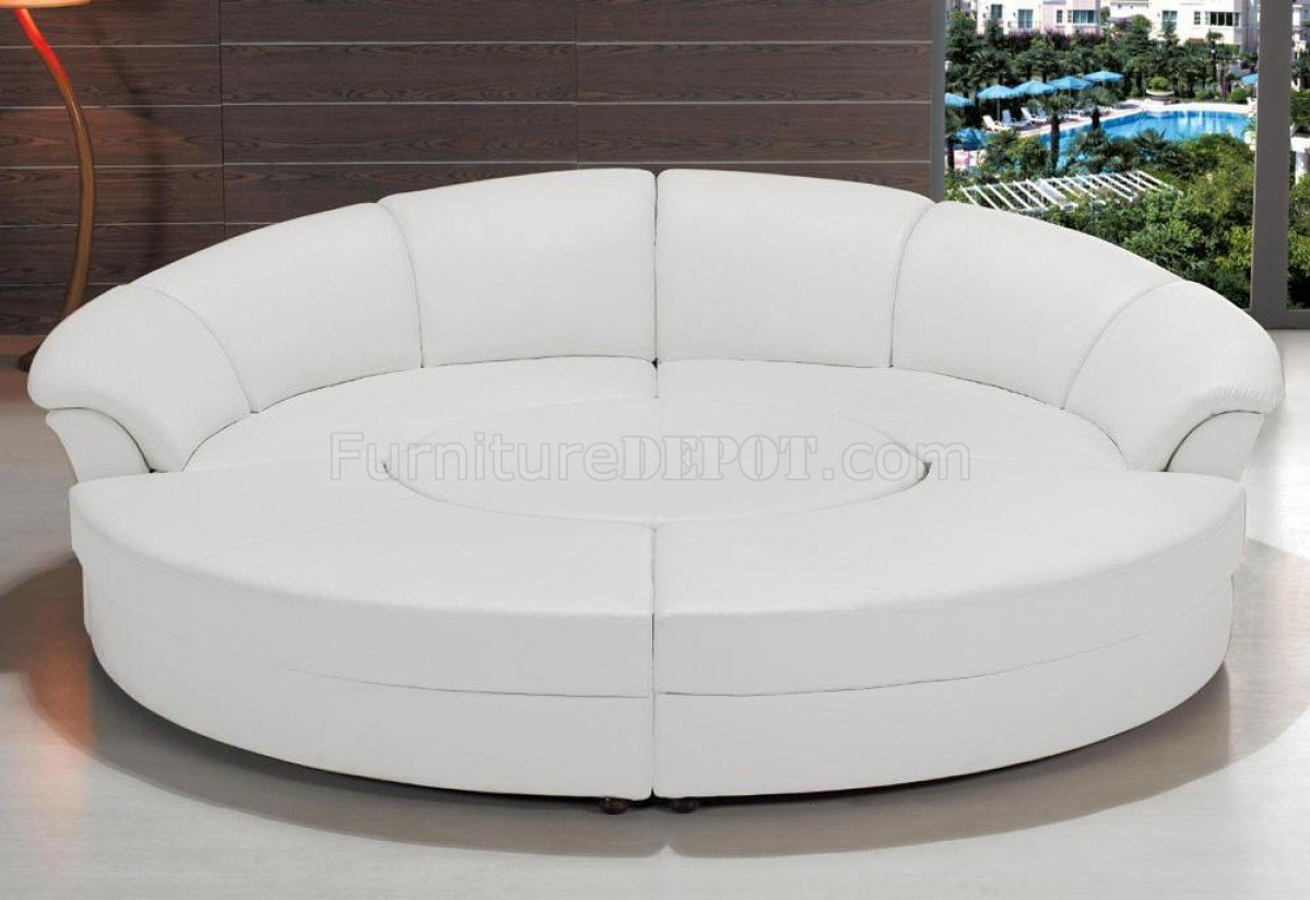 2276 circle sectional sofa in white bonded leather by vig. Black Bedroom Furniture Sets. Home Design Ideas