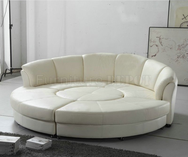 2276 Circle Sectional Sofa In White Bonded Leather By Vig