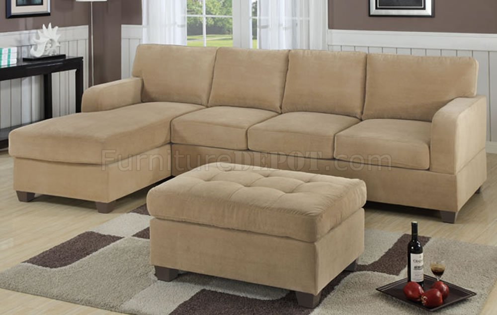 Khaki waffle suede contemporary sectional sofa w ottoman for Suede sectional