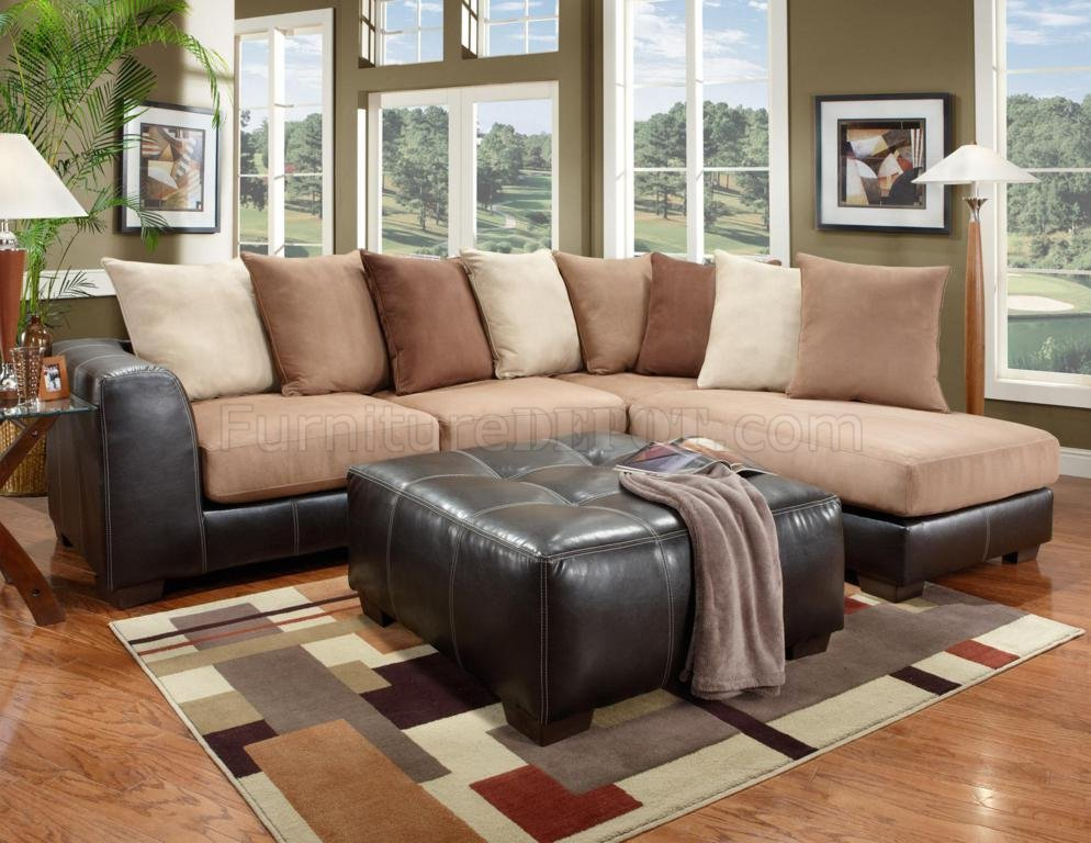 Saddle Fabric Amp Dark Brown Vinyl Modern Sectional Sofa