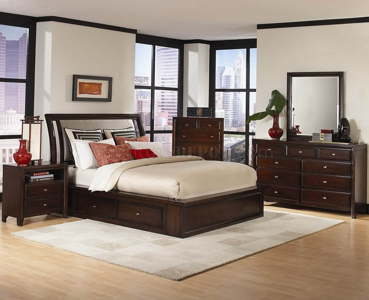 Cherry Finish Contemporary Bedroom WStorage Bed