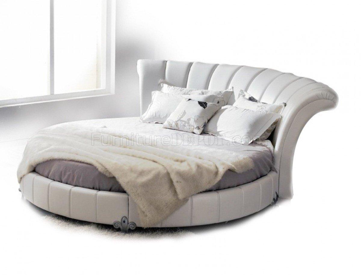 Round White Leather Bed W Elegant Curvy Headboard