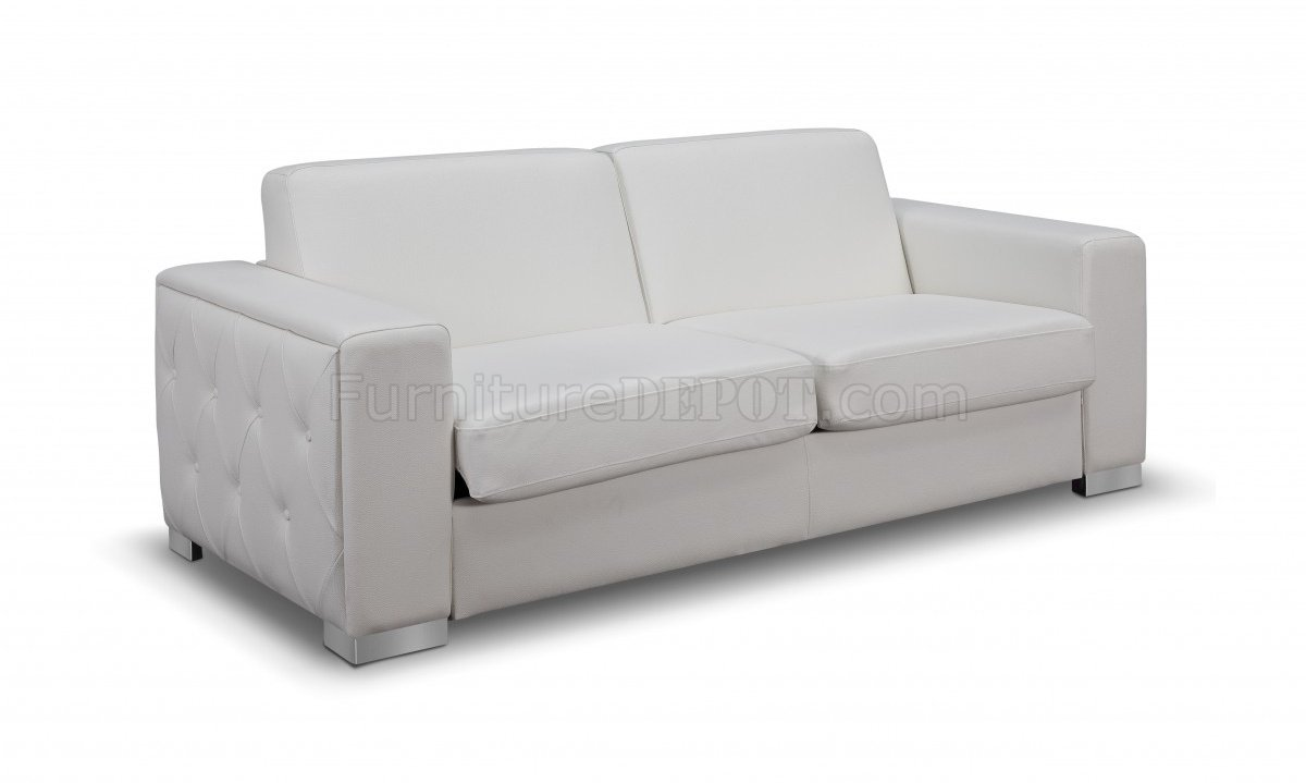 alfa sofa bed convertible in white faux leather by whiteline. Black Bedroom Furniture Sets. Home Design Ideas