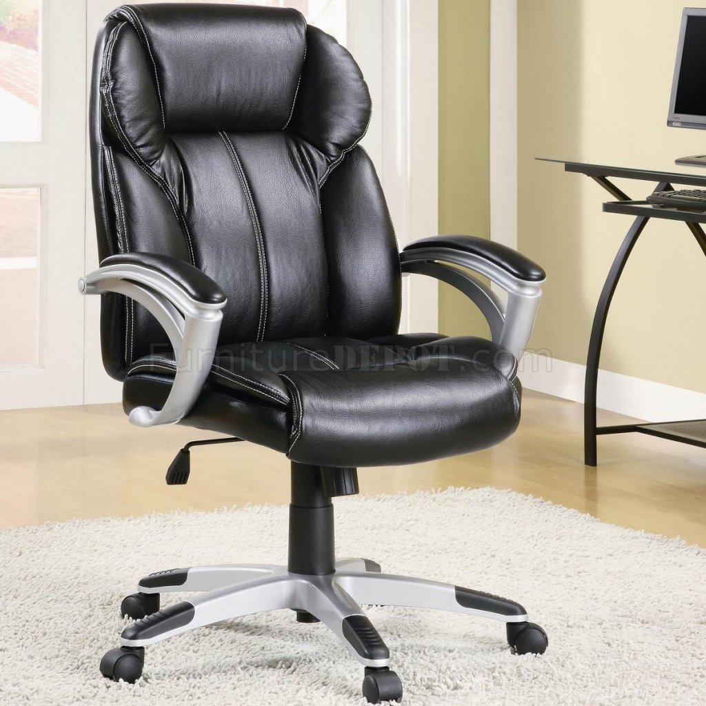 Black faux leather modern office chair w gas lift padded for Contemporary office chairs modern
