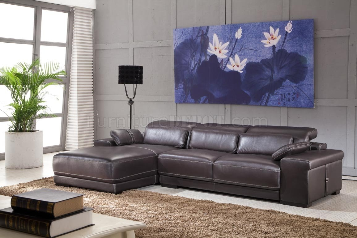 Dark brown full genuine italian leather modern sectional sofa for Genuine italian leather sectional sofa
